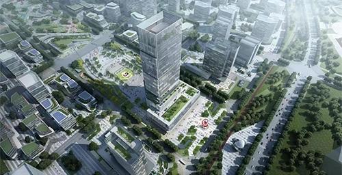 【峰辉钢构集团】热烈祝贺上饶高楼经开区科技创新大厦项目钢结构首吊成功!